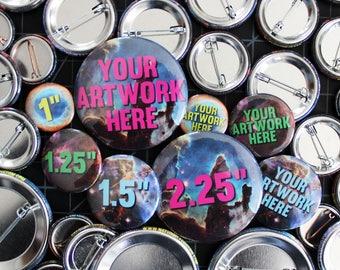 25 Custom Pinback Buttons