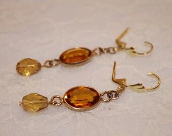 Amber Glass Earrings on Lever Back Hooks