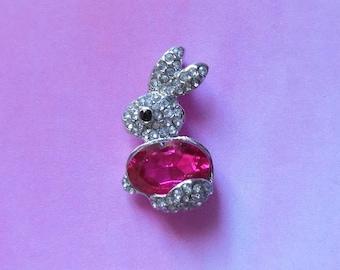 1 pendant Bunny Pink and white rhinestones