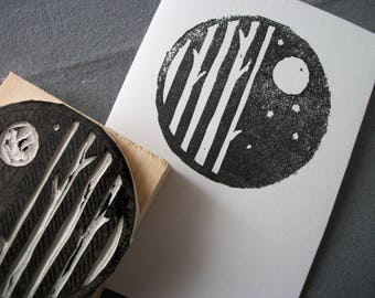 Hand Printed Greeting Card, Original Stamped Greeting Card, Moonlight Forest Greeting Card