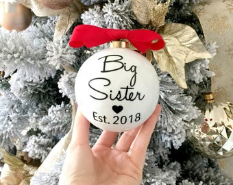 Pregnancy Reveal Christmas Ornament For Kids, Big Brother & Big Sister Christmas Ornament, Pregnancy Announcement