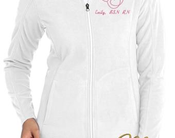 Monogram Stethoscope Nurse Jacket -  RN Fleece Full Zip Jacket -  Nurse Monogram Apparel - White Jacket - Plus Size Jacket - Ladies Monogram