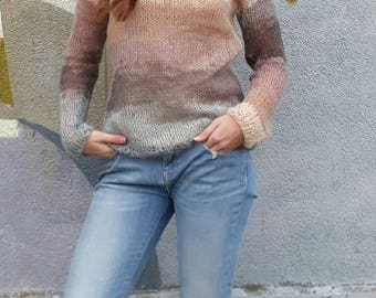 Loose knit Mohair long sleeves sweater Fall angora sweater Melange mohair sweater
