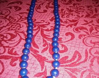 "Vintage 18"" dark blue beaded necklace"