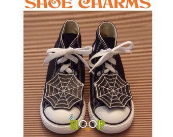 SPIDER WEB Shoe Charms Wings Tags Machine Applique Embroidery design ITH In The Hoop Halloween cosplay Goth shoelace