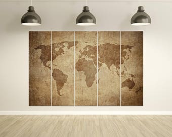Large travel world map with monuments leather printwall large brown grunge world map leather printlarge wall artwall decorextra gumiabroncs Gallery