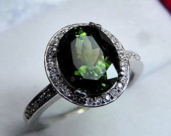 AAAA Green Tourmaline   10x8mm  3.09 Carats   in 14K white gold Halo engagement ring with diamonds (.25ct) Ring 0339