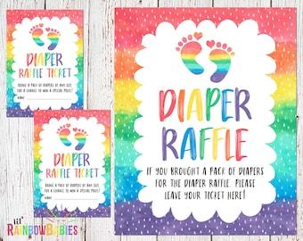 PRINTABLE Diaper Raffle Tickets, Diaper Raffle Sign, Baby Shower Raffle Tickets, Diaper Raffle Cards, Rainbow Baby Shower, INSTANT DOWNLOAD