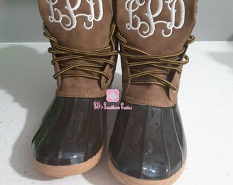 ON SALE Monogrammed Duck Boots- BROWN Personalized Duck Plaid Lined Boots for Women Snow Boots with Monogram