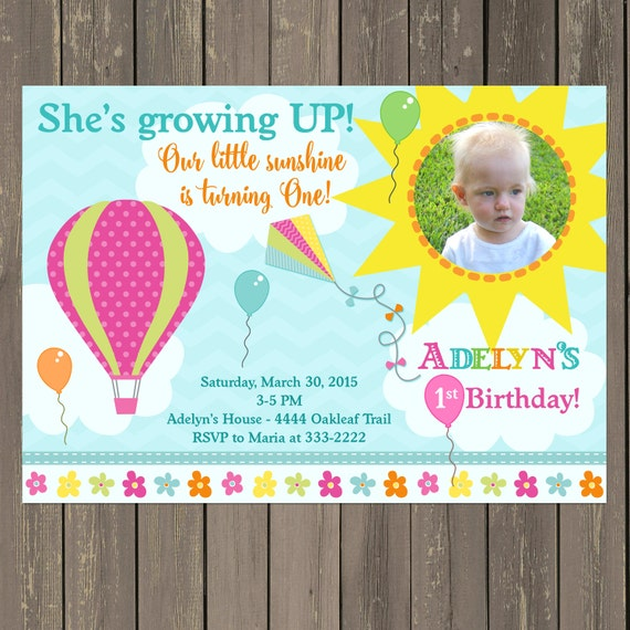 Growing Up Birthday Invitation Hot Air Balloon Kite
