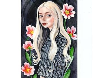 Primrose Watercolor Painting