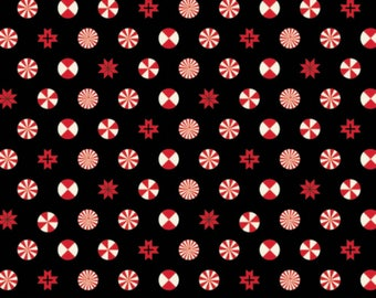 Tula Pink - Holiday Homies Collection - Peppermint Stars in Ink