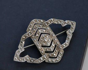 Vintage Geometric Brooch - Silver Tone Antique Brooch