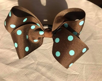 Brown/teal bow