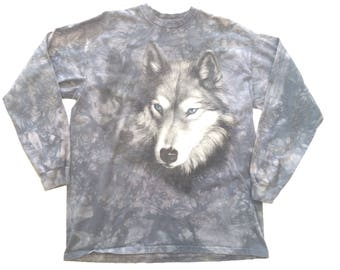 Vtg. Wolves Mountain 90s Ie Dyed Long Sleeve T-Shirt / Size XL