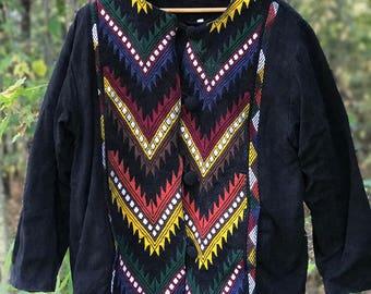 black long sleeve jacket with chevron pattern