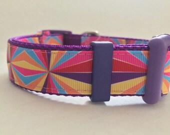 Clearance DOG Collars ....Purple andPunk Geometric