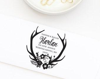 Return Address Stamp, Wedding Invitation Address Stamp, Antler Address Stamp, Personalized Return Address Stamp, Stamp No. 109