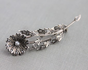 Stunning Georgian Victorian Seed Pearl and Silver Flower Brooch