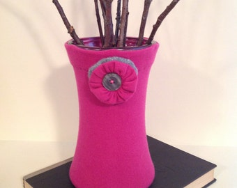 Floral Container,Bright Pink and Gray,Flower Vase,Up-cycled,Repurposed Sweater,Handmade,Unique Gift,Modern,Home Accents,Valentines Day Gift