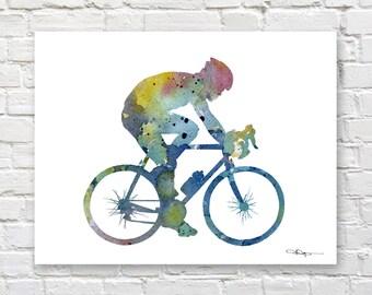 Cycling Art Print - Abstract Watercolor Painting - Wall Decor