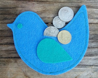 Bird Coin Purse, coin purse, animal purse, animal coin purse, felt purse, felt coin purse, kids purse