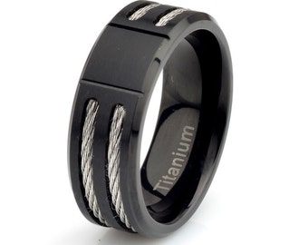 Mens Black Titanium Wedding Band, Matte finish, Stainless Steel Rope inlay, Mens Ring, Black Titanium Band Grooved Titanium Rings, His Gift
