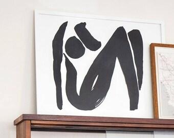 """Female Abstract Art Print; Minimalist Figure Art Print; 8.5"""" x 11"""" Print; Archival Art Print; printed on 310g 100% cotton rag"""