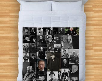Winston Churchill Design Soft Fleece Blanket Cover Throw Over Sofa Bed Blanket