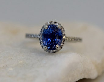 Oval Blue Sapphire Engagement Ring. White Gold Engagement Ring 2.47ct oval blue sapphire ring. White gold ring.