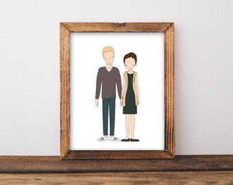Custom couple portrait/Couple Portrait Illustration/Custom family portrait/Family Portrait/illustration/Digital prints/Printable wall art