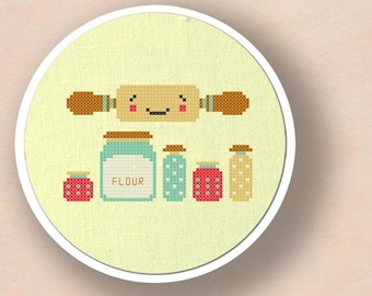Rolling out Sweets Cross Stitch Pattern. Baking Modern Simple Cute Counted Cross Stitch PDF Pattern. Instant Download