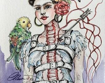 Watercolor Portrait, Fan Art - Limited Edition Signed Print, 8x10 Ink Illustration, Fine Art Print, Pop Surrealism,