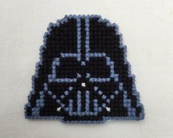 Plastic canvas cross stitched Darth Vader magnet