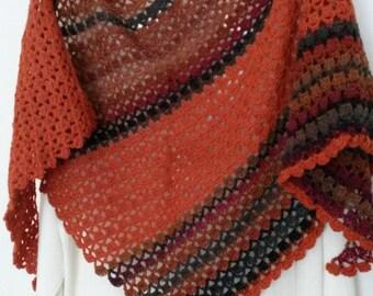 Crochet shawl soft alpaca wool autumn colours fall colors crescent triangular wrap