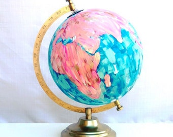 Painted World Globe // Jessica Catherine Designs, perfect for classrooms, wanderlust decor, instagram offices, pink and blue home decor, etc