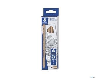 Staedtler 12 Jumbo Triangular 2B Graphite Pencils Natural Wood | Kids Children Learners First Writing Stationery