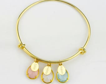 Personalized mom bracelet birthstone bangle, grandma bracelet with kids names birthstone bracelet custom name bangle Valentines day for mom