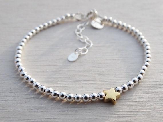 Silver Bead & Gold Star Bracelet, Sterling Silver