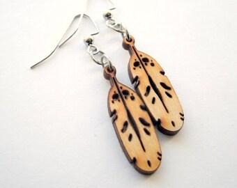 Eagle Feather Wood Earrings