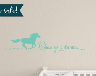 """ON SALE 36"""" Chase Your Dreams Horse Wall Decal in Mint, Vinyl Wall Decals, Horse Decals, Childrens Wall Decals - 14"""