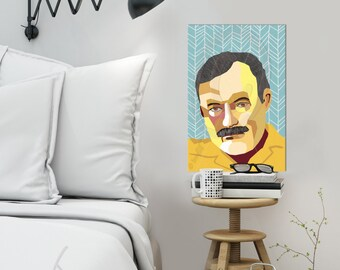 "Portrait ""Ernest"" - Tribute to Ernest Hemingway  FRAMED ART, Literature, iconArt, Personalized Gift, Name, City, Gift For Women, For Men,"