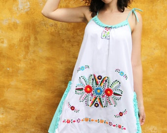 White and aqua of a kind Hand Embroidered Mexican Spaghetti strapped dress