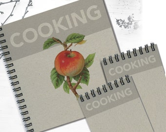 Personal Cooking Notebook, Including 2 Matching Writing Pads, Recipe Notebooks, Personal Cooking Notebooks, Set of Matching Notebooks
