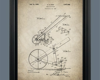 Vintage Hand Cultivator Patent Print - Garden Cultivator - Gardener Gift - Farmer Tool - Patent Print Poster - Instant Download - #082