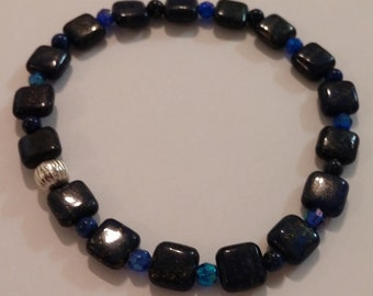 Blue Goldstone, Gemstone, Bracelet, Heavenly beads