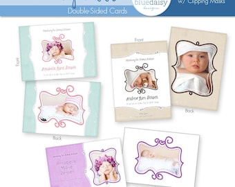 5 x 7 Birth Announcement Collection - Whimsy Addition - Photographer Templates