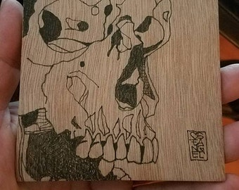 Skull and Worm 4x4 doublesided wood panel
