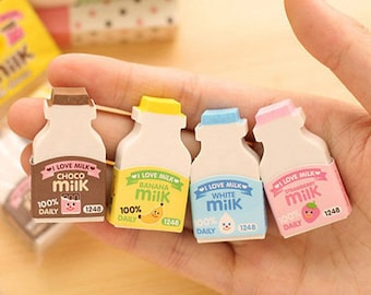 Milk Bottle Erasers / Cute Erasers / Kawaii Erasers / Milk Erasers / Kawaii Milk Bottle / Cute Milk Bottle / Cute Stationary / Stationery