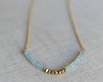Gold Aquamarine Necklace, March birthstone necklace; Aquamarine necklace; Aquamarine layering necklace; simple march birthstone necklace